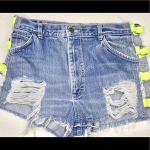 Neon cutout high wasted shorts